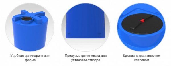 Емкость T 3000 с крышкой с дыхательным клапаном синий в обрешетке