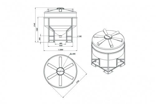 Емкость ФМ 3000 с крышкой с дыхательным клапаном белый в обрешетке