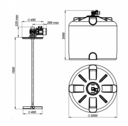 Емкость TR 5000 с лопастной мешалкой