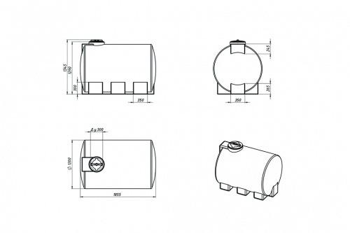 Емкость ЭВГ 2000 с крышкой с дыхательным клапаном синий
