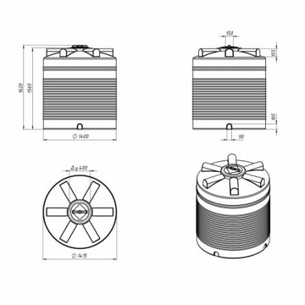 Емкость ЭВЛ 2000 с крышкой с дыхательным клапаном черный