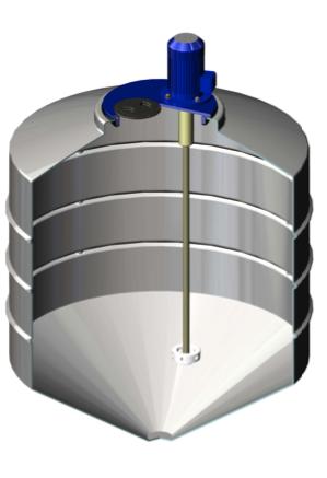 Емкость ФМ 500 в обрешетке с турбинной мешалкой