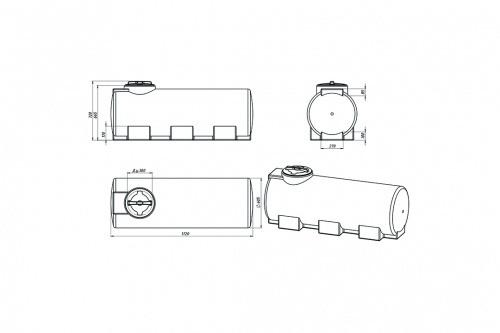 Емкость ЭВГ 500 с крышкой с дыхательным клапаном синий
