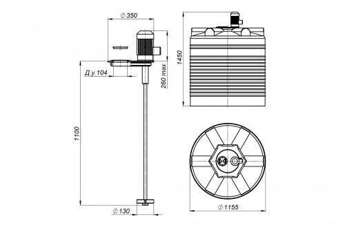 Емкость ЭВЛ 1000 с турбинной мешалкой