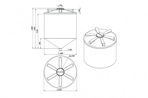 Емкость ФМ 5000 с крышкой с дыхательным клапаном белый
