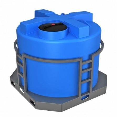 Емкость T 2000 с крышкой с дыхательным клапаном синий в обрешетке