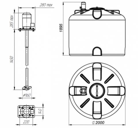Емкость TR 4500 с лопастной мешалкой