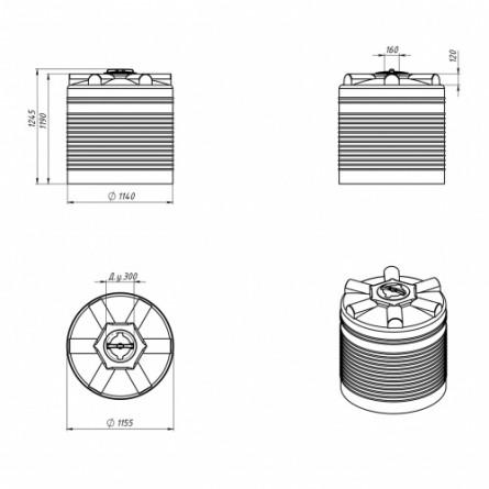 Емкость ЭВЛ 1000 с крышкой с дыхательным клапаном черный