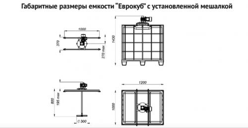 Мешалка лопастная для ЕВРОКУБА с комплектом креплений